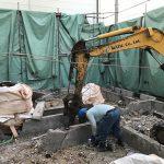 39336855 338992536642674 2815689587555303424 n 150x150 - #解体#大阪#建物解体後、基礎部を撤去している状況。#ゴミが、地中に混ざらないよう、丁寧に集積中。ご苦労様!